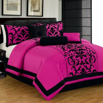 7 Piece Comforter Set Size: King, Color: Pink