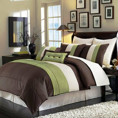 8 Piece Comforter Set Color: Sage, Size: Queen