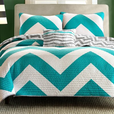 3 Piece Reversible Coverlet Set Color: Aqua