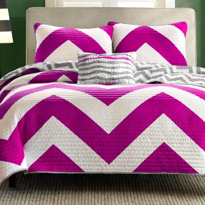 3 Piece Reversible Coverlet Set Color: Pink