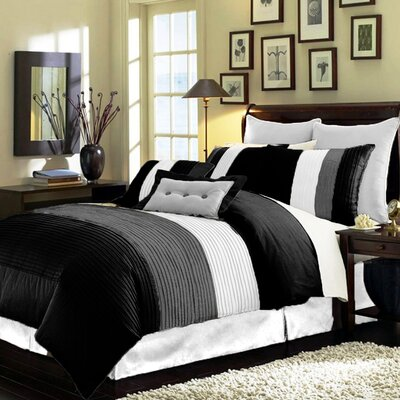 8 Piece Comforter Set Size: Queen, Color: Black