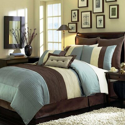 8 Piece Comforter Set Size: Queen, Color: Blue