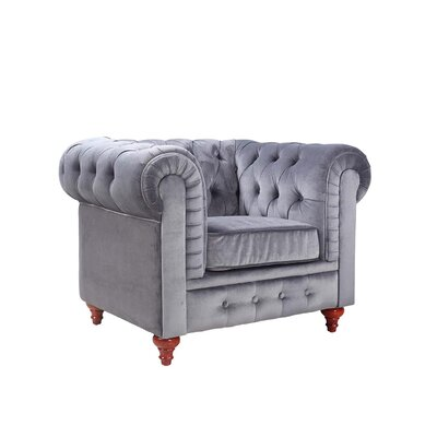 Chesterfield Club Chair Upholstery: Grey