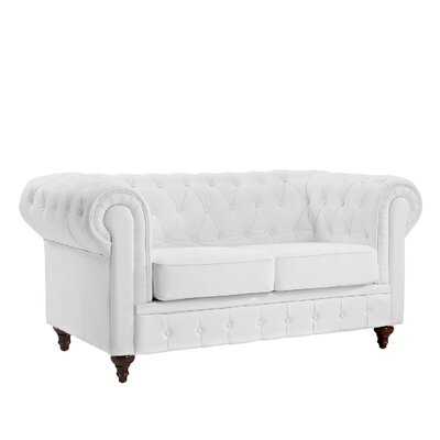 Leather Chesterfield Loveseat Upholstery: White