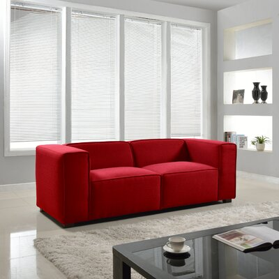 Overstuffed Sofa Upholstery: Red