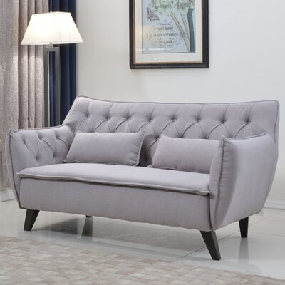 Mid-Century Modern Loveseat Upholstery: Light Gray