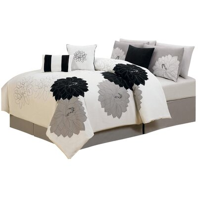 7 Piece Comforter Set Size: Queen, Color: Black