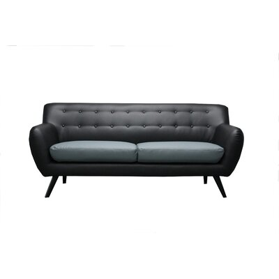 Mid Century Modern Tufted Sofa Upholstery: Black / Grey Seat