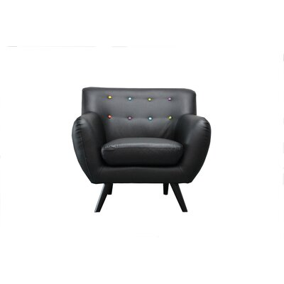 Mid Century Modern Tufted Bonded Leather Armchair Upholstery: Black
