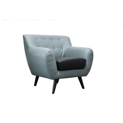 Mid Century Modern Tufted Bonded Leather Club Chair Upholstery: Grey / Black Seat