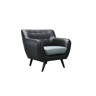 Mid Century Modern Tufted Bonded Leather Club Chair Color: Black / Grey Seat