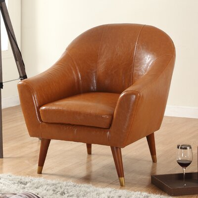 Mid Century Modern Barrel Chair Upholstery: Camel