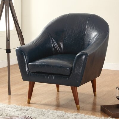Mid Century Modern Barrel Chair Upholstery: Dark Blue