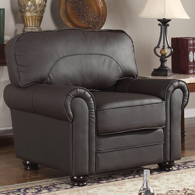 Leather Upholstered Scroll Armchair