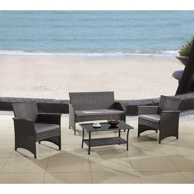 Modern Outdoor Garden Patio 4 Piece Seating Group with Cushion Finish: Gray