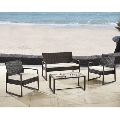 Modern Outdoor Patio 4 Piece Seating Group with Cushion Finish: Brown