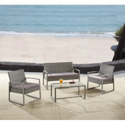 Modern Outdoor Patio 4 Piece Seating Group with Cushion Finish: Gray