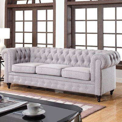 Madison Home USA EXP12-FB-3S-STONE Classic Tufted Linen Fabric Chesterfield Sofa