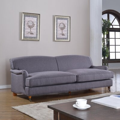 Mid-Century Modern Large Sofa with Casters Upholstery: Light Gray