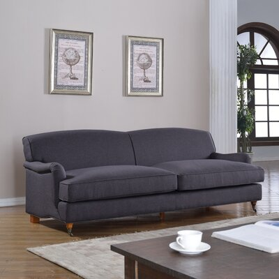 Mid-Century Modern Large Sofa with Casters Upholstery: Dark Gray