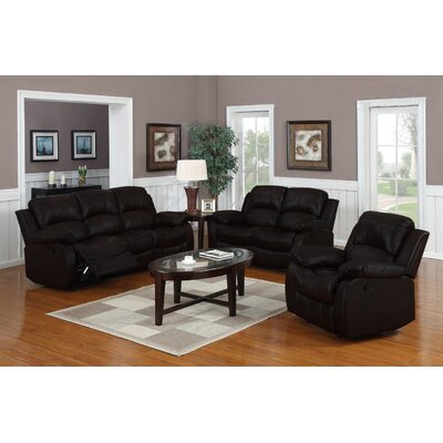 Classic Oversize and Overstuffed 3 Piece Leather Living Room Set Color: Brown