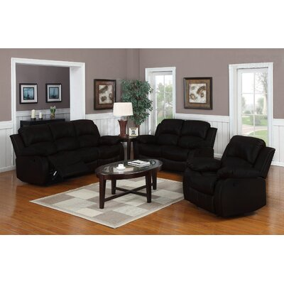 Classic Oversize and Overstuffed 3 Piece Leather Living Room Set Color: Black