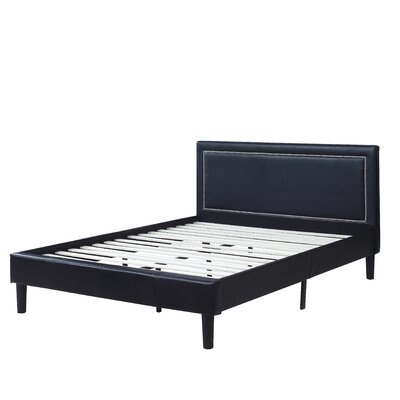 Deluxe Upholstered Platform Bed Size: Full, Color: Black