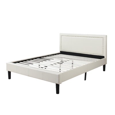 Deluxe Upholstered Platform Bed Size: Full, Color: Ivory