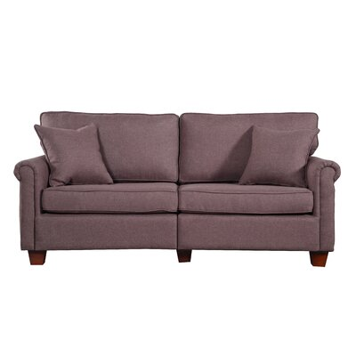 Classic Living Room Linen Fabric Sofa Finish: Brown