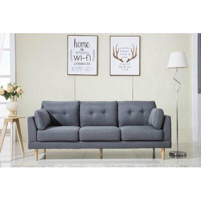 Mid Century Modern Ultra Plush Linen Fabric Sofa Finish: Dark Gray