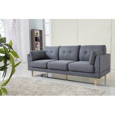 Mid Century Modern Ultra Plush Linen Fabric Sofa Finish: Dark Gray