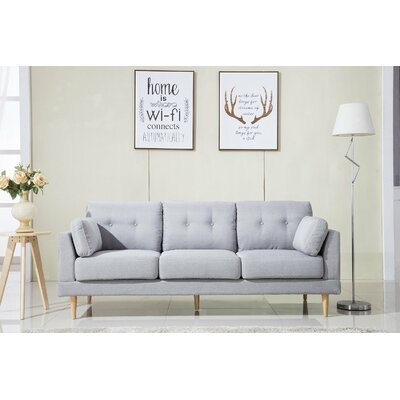 Mid Century Modern Ultra Plush Linen Fabric Sofa Finish: Light Gray