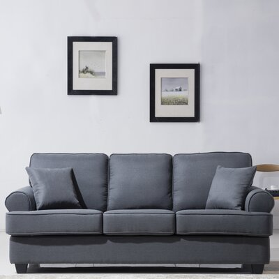 Classic Plush Sofa Upholstery: Dark Grey