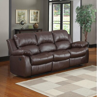 3 Seater Leather Recliner Upholstery: Brown