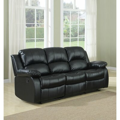 3 Seater Leather Recliner Upholstery: Black