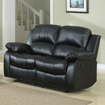 Leather Reclining Sofa Upholstery: Black