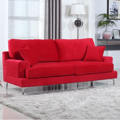 Ultra Modern Plush Velvet Living Room Sofa Finish: Red