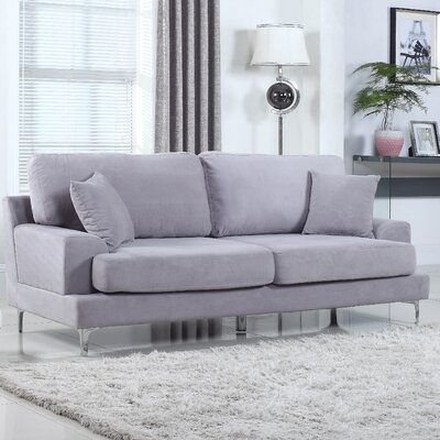 Ultra Modern Plush Velvet Living Room Sofa Finish: Gray