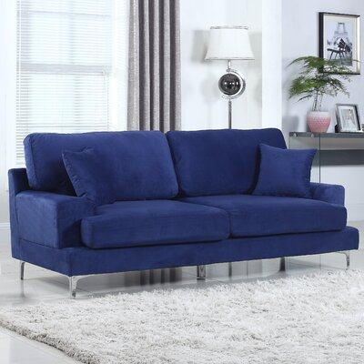 Ultra Modern Plush Velvet Living Room Sofa Finish: Blue