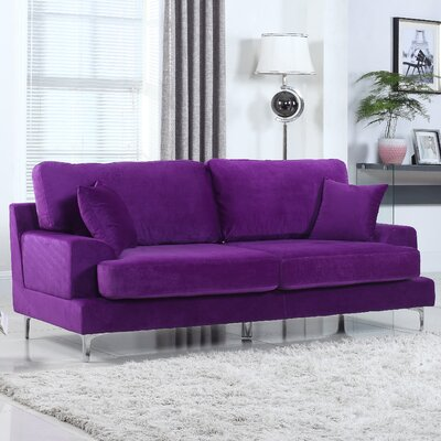 Ultra Modern Plush Velvet Living Room Sofa Finish: Purple