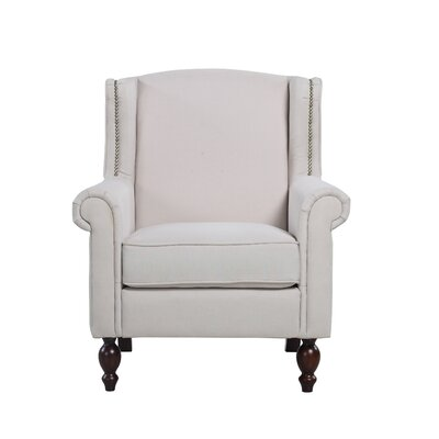 Classic Scroll Fabric Armchair Upholstery Color: Beige