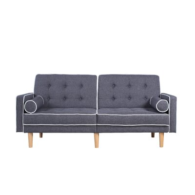 Mid Century Modern Convertible Sofa Upholstery: Dark Gray