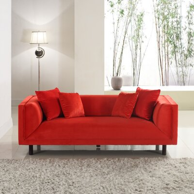 Mid-Century Modern Sofa Upholstery: Red