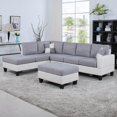 Reversible Chaise Sectional Upholstery: Light Gray