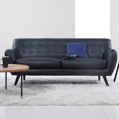 Mid Century Modern Tufted Sofa Upholstery: Black