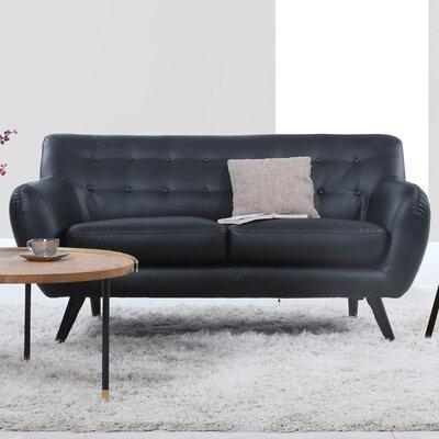 Mid Century Modern Tufted Loveseat Upholstery: Black