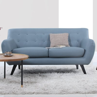 Mid Century Modern Tufted Loveseat Upholstery: Grey