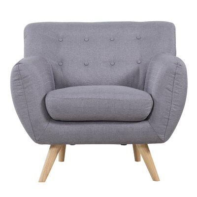 Mid-Century Modern Tufted Armchair Upholstery: Light Grey