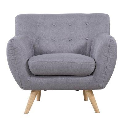 Mid-Century Modern Tufted Armchair Upholstery: Light Grey