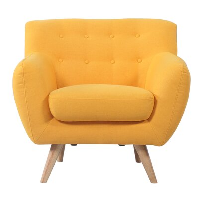 Mid-Century Modern Tufted Armchair Upholstery: Yellow